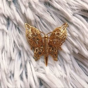 Vintage Monet Gold Tone Butterfly Pin